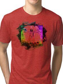 Colorful Grunge Vitruvian Man - Leonardo Da Vinci Tribute Art T Shirt - Stickers Tri-blend T-Shirt