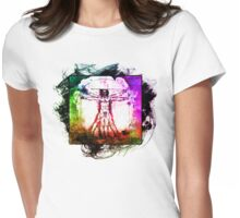 Colorful Grunge Vitruvian Man - Leonardo Da Vinci Tribute Art T Shirt - Stickers Womens Fitted T-Shirt