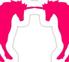 2 friends fighting enemies fight unicorn pink horse outline silhouette shadow symbol logo stallion Sticker