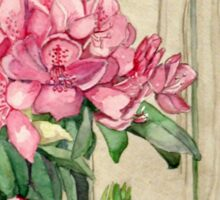 Pink Rhododendron With Knotty Wood Fence Sticker