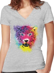 Tiger - Colorful Paint Splatters Dubs - T-Shirt Stickers Art Prints Women's Fitted V-Neck T-Shirt