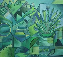 Green cubist still life by Karin Zeller