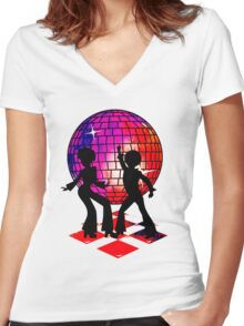 Retro Music DJ! Feel The Oldies! DANCE! Women's Fitted V-Neck T-Shirt