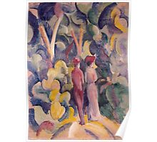 Vintage famous art - August Macke - Couple On The Forest Track Poster