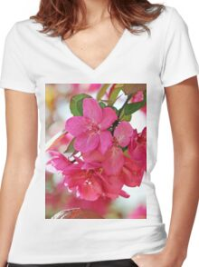 A branch of Crabapple flowers Women's Fitted V-Neck T-Shirt