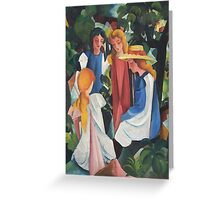 Vintage famous art - August Macke - Four Girls Greeting Card