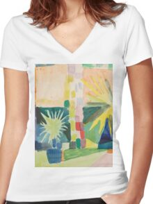 Vintage famous art - August Macke - Garden On Lake Thun (Pomegranate Tree And Palm In The Garden) Women's Fitted V-Neck T-Shirt