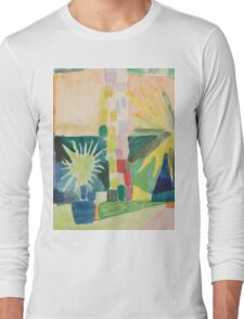 Vintage famous art - August Macke - Garden On Lake Thun (Pomegranate Tree And Palm In The Garden) Long Sleeve T-Shirt