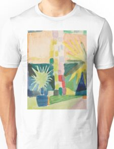 Vintage famous art - August Macke - Garden On Lake Thun (Pomegranate Tree And Palm In The Garden) Unisex T-Shirt