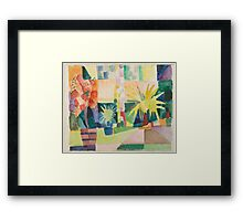 Vintage famous art - August Macke - Garden On Lake Thun (Pomegranate Tree And Palm In The Garden) Framed Print