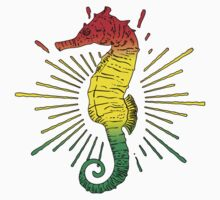 Seahorse with Reggae Music Flag Colors! Kids Tee