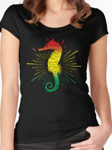 Seahorse with Reggae Music Flag Colors! Women's Fitted Scoop T-Shirt