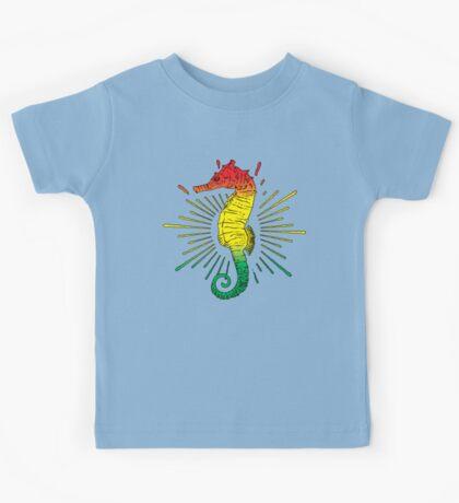 Seahorse with Reggae Music Flag Colors! Kids Tee