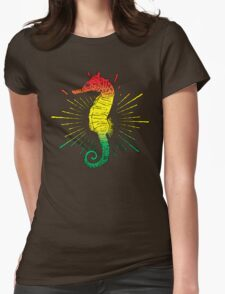 Seahorse with Reggae Music Flag Colors! Womens Fitted T-Shirt