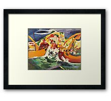 Vintage famous art - August Macke - Native Sea Fight Framed Print