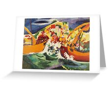Vintage famous art - August Macke - Native Sea Fight Greeting Card