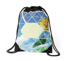 Nature and Geometry - The Sunflower Drawstring Bag
