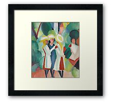 Vintage famous art - August Macke - Three Girls In Yellow Straw Hats I Framed Print