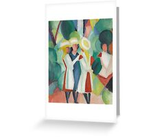 Vintage famous art - August Macke - Three Girls In Yellow Straw Hats I Greeting Card