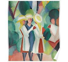 Vintage famous art - August Macke - Three Girls In Yellow Straw Hats I Poster