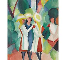 Vintage famous art - August Macke - Three Girls In Yellow Straw Hats I Photographic Print