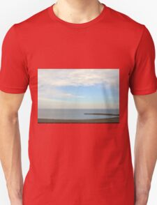 Beautiful day at the beach with white cloudy sky. Unisex T-Shirt