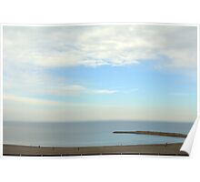 Beautiful day at the beach with white cloudy sky. Poster