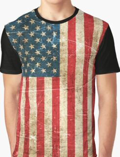 Vintage Aged and Scratched American Flag Graphic T-Shirt