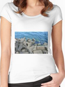 Rocks that break the waves and blue sea. Women's Fitted Scoop T-Shirt