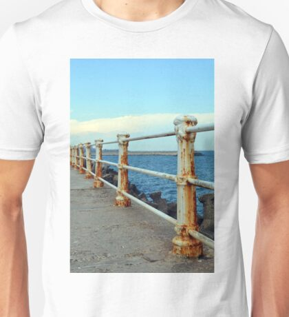 Promenade by the sea with rusty handrail. Unisex T-Shirt