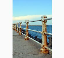 Promenade by the sea with rusty handrail. T-Shirt