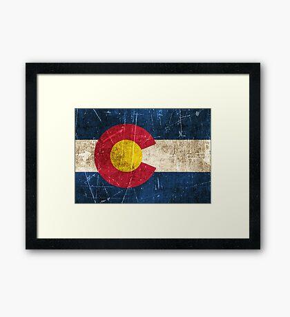 Vintage Aged and Scratched Colorado Flag Framed Print