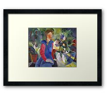 Vintage famous art - August Macke - Woman With Fishbowl  Framed Print