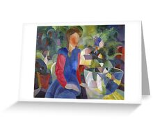 Vintage famous art - August Macke - Woman With Fishbowl  Greeting Card
