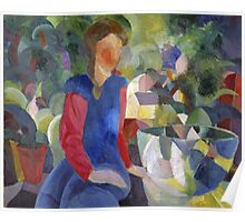 Vintage famous art - August Macke - Woman With Fishbowl  Poster