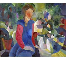 Vintage famous art - August Macke - Woman With Fishbowl  Photographic Print