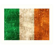 Vintage Aged and Scratched Irish Flag Art Print