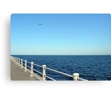 Promenade by the sea with white handrail. Canvas Print