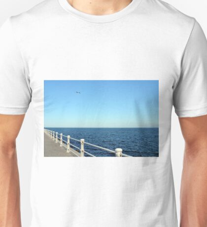 Promenade by the sea with white handrail. Unisex T-Shirt