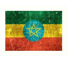 Vintage Aged and Scratched Ethiopian Flag Art Print