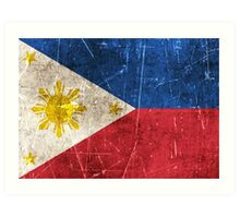 Vintage Aged and Scratched Filipino Flag Art Print