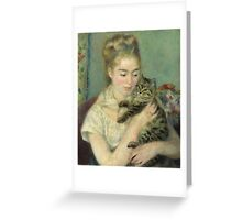 Vintage famous art - Piere Auguste Renoir - Woman With A Cat Greeting Card