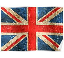 Vintage Aged and Scratched British Flag Poster