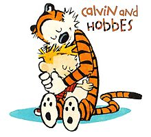 Calvin and hobbes Hugs Photographic Print