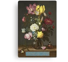 Vintage famous art - Balthasar Van Der Ast  - Bouquet Of Flowers In A Glass Vase 1621 Canvas Print