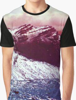 Pink Lake Snow Fall Mountains Graphic T-Shirt