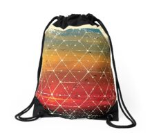 Nature and Geometry Flying Birds Drawstring Bag