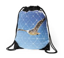 Nature and Geometry - The Seagull Drawstring Bag