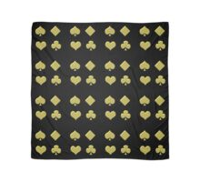 Gold playing cards signs on black Scarf
