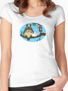Totoro X Neko Atsume Women's Fitted Scoop T-Shirt